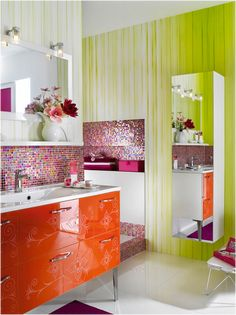 Would love to do a bathroom like this for my daughter!  Key Interiors by Shinay: Teen Girls Bathroom Ideas.