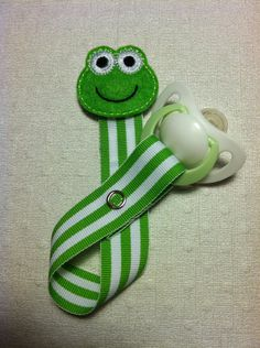 Lime Green and White Stripes with Lime Froggy Applique Pacifier Clip $6.50