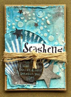 ATC by Belinda Spencer using Darkroom Door Seashells Rubber Stamps. No link to the original Atc Cards, Card Tags, Kirigami, Scrapbook Borders, Mixed Media Cards, Nautical Cards, Beach Cards, Scrapbooking, Handmade Tags