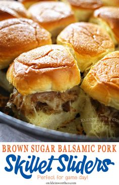 Brown Sugar Balsamic Pork Skillet Sliders start in the slow cooker & then finish in the skillet. They are simple & over the top delicious for your game day menu. via /KleinworthCo/ Recipes Using Pork, Cooking Recipes, Cooking Ideas, Shrimp Lo Mein Recipe, Pork Sliders, Slider Sandwiches, Soup And Sandwich, Sandwich Recipes, Sandwich Ideas