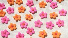 Orange and Hot Pink Gum Paste Blossoms. $18.00, via Etsy.