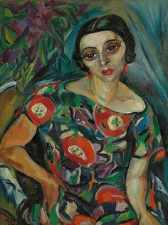 Portrait of Rebecca Hourwich Reyher (1925) by Irma Stern (1894–1966), South African associated with German Expressionist painters of her day (wiki) - (lilithsplace)