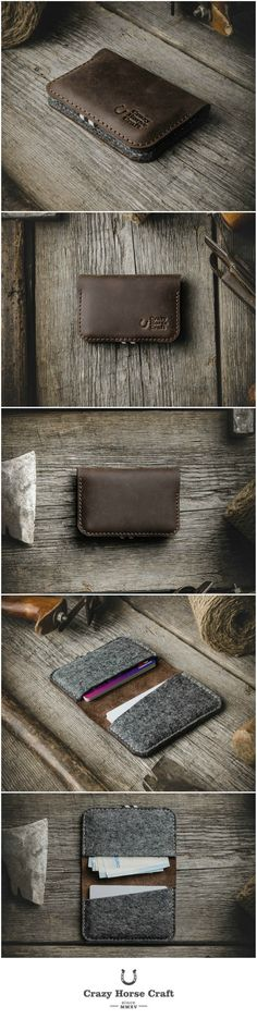 Business and Credit Card Holder made of classic saddle Crazy Horse type leather, simple minimalistic design, soft 100% German wool felt inside.    can hold up to 16 credit cards or 40 business cards  simple minimalistic design  crazy horse leather rubbed matures and forms a patina over time (glossy layer that will make the leather look even better)  100% wool felt