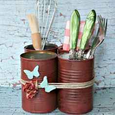 cans into caddy - paint, use in apartment for silverware, craft supplies, etc