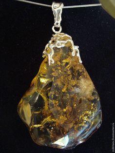 Купить кулон МЕДОВАЯ ГРУША 3 - серебряный, янтарь в серебре, другое серебро, кулон с янтарем