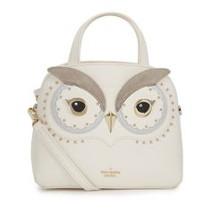 KATE SPADE NEW YORK Star Bright Owl Lottie Leather Tote (1.440 BRL) ❤ liked on Polyvore featuring bags, handbags, tote bags, white leather tote, zip tote bag, leather totes, kate spade purses and white tote bag