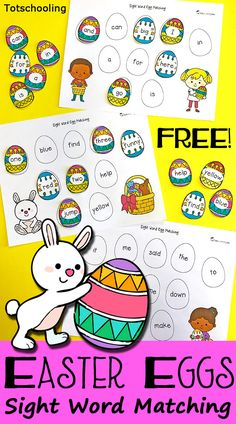 FREE Easter Sight Word matching activity featuring all 40 dolch pre-primer sight words, cute Easter children, eggs and bunny. Great for preschool or kindergarten for a fun twist on a traditional egg hunt. Easter Activities For Kids, Kids Learning Activities, Spring Activities, Kindergarten Activities, Toddler Preschool, Preschool Binder, Preschool Plans, Pre Kindergarten, Preschool Worksheets