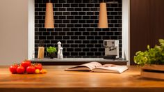 """We have collected some really great Black Subway tiles design to give that modern touch to your kitchen. Checkout Black Subway Tiles In Modern Kitchen Design Ideas"""" and get inspired. Kitchen Soffit, Kitchen Tiles, Kitchen Flooring, Kitchen Decor, Black Subway Tiles, Black Tiles, Wood Interior Design, Wood Interiors, Open Plan Kitchen"""