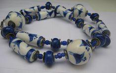 Dutch Delft Pottery Necklace Blue White