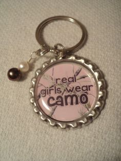 Real girls wear camo key chain with pearl charm Cool Keychains 249f7510a