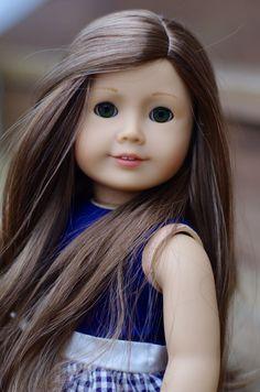 American Girl Doll Custom Carolline Marie-Grace wig and new green eyes OOAK #DollswithClothingAccessories