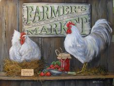 Pam Britton Premium Thick-Wrap Canvas Wall Art Print entitled Farmer's Market, None Rooster Painting, Rooster Art, Rooster Decor, Painting On Wood, Chicken Signs, Chicken Art, Framed Art Prints, Poster Prints, Canvas Prints