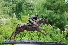 #Bronze #sculpture by #sculptor Lorne Mckean titled: 'Adolfo Cambiaso on Aiken Cura (Champion Polo sculptures/statues/Bronze)'. #LorneMckean