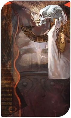 """The Devil (Iron Bull) ___________ Tarot Cards from """"Dragon Age : Inquisition"""" showing the main characters. Created by the game concept team : Matt Rhodes, Nick Thornborrow,  Casper Konefal and Ramil Sunga."""