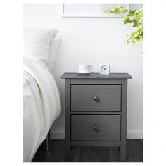 IKEA - HEMNES, Chest of 2 drawers, grey, Smooth running drawers with pull-out stop. The drawer insert is perfect for small things. Can also be used as a bedside table. Combines with other furniture in the HEMNES series. Bed With Drawers, Chest Of Drawers, Grey Drawers, Storage Drawers, Ikea Canada, Gray Nightstand, Ikea Hemnes Nightstand, Bedside Lockers, Malm Bed