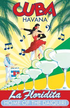 PEL322: 'La Floridita - Cuba' by Charles Avalon - Vintage travel posters - Art…