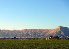Near Grand junction, CO - Book Cliffs and Mt. Garfield (on right, approximate altitude 6,600') in Mesa County, Colorado.