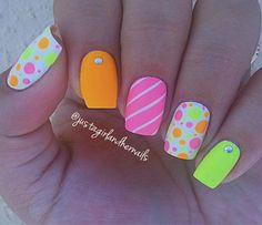 Cool Summer Nail Art Designs 2016 That will Surely Inspires You Fashion Craze Neon Nail Art, Neon Nails, Cute Nail Art, Cute Nails, Pretty Nails, Gorgeous Nails, Frensh Nails, Diy Nails, Cute Summer Nails