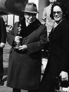 Charlie Chaplin, with Oona, holding his honorary Oscar 1972