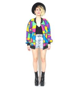 80s 90s Stained Glass Bomber Jacket Rainbow by honeymoonmuse, $55.00