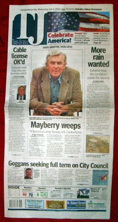Andy Griffith Dead Collectible Newspaper 7 04 12 Andy Taylor Mayberry Matlock | eBay