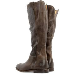 FRYE Paige Tall Riding shoes ($375) ❤ liked on Polyvore featuring shoes, boots, grey, knee high boots, knee high riding boots, riding boots, grey boots and frye knee high boots