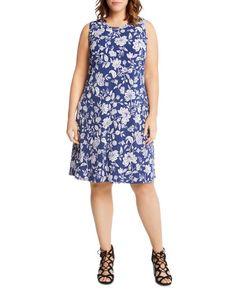 Karen Kane Plus Woodblock Floral-Print Shift Dress