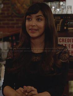 Cece's black lace yoke top on New Girl.  Outfit Details: http://wornontv.net/28444/ #NewGirl