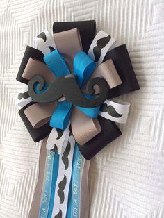 Mustache Baby Shower Corsage Pin Little Man Black Grey Blue on Etsy, $15.00