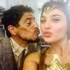 Gal Gadot and Said Taghmaoui on the set of «Wonder Woman»