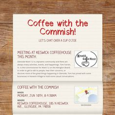 Coffee with the Commish! Come on out Ward 12 Glenside and chat with Tom at Keswick Coffeehouse, 285 N Keswick Ave., Glenside, PA 19038  https://smore.com/rj1b  #I♥Glenside #AbingtonWard12