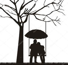Paar unter Baum mit Regenschirm, weißen Hintergrund. Vektor
