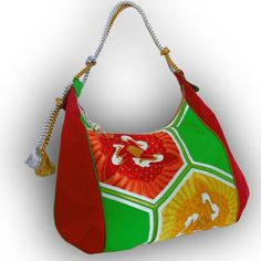 Japanese Obi Over Size Hobo Bag - Bright  Green, Tangerine Orange - Three Cranes with Hexagonal Frame by Kazuenxx on Etsy