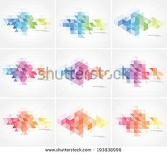 Vector abstract multicolored polygonal mosaic backgrounds collection. Modern geometric triangular patterns. Business design templates - stock vector