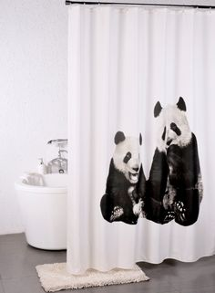 A Loja do Gato Preto   Cortina de Banho Pandas #alojadogatopreto