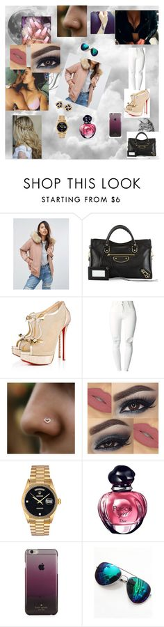 """""""call me 59"""" by nikoleta-nicky-malik ❤ liked on Polyvore featuring ASOS, Balenciaga, Christian Louboutin, (+) PEOPLE, Rolex, Kate Spade and Tiffany & Co."""