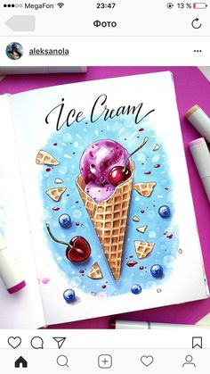 VK is the largest European social network with more than 100 million active users. Cool Art Drawings, Amazing Drawings, Art Drawings Sketches, Colorful Drawings, Copic Marker Drawings, Sketch Markers, Drawing With Markers, Food Art Painting, Ice Cream Art