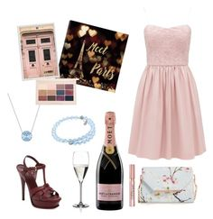 Paris by italianspanishwoman on Polyvore featuring polyvore, moda, style, Yves Saint Laurent, Ted Baker, Swarovski, L'Oréal Paris, iCanvas, Pottery Barn, Riedel, Moët & Chandon, fashion and clothing