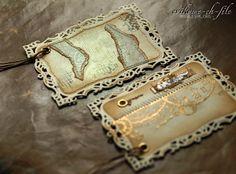 zakładka do książki, bookmark, Evik, gold embossing, złote nity, jutowy sznurek, glimmer mist