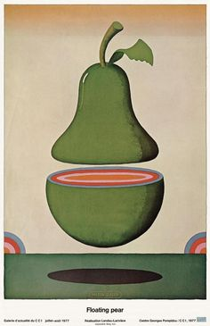 Graphic Design - Who:Milton Glaser What:Floating Pear Vintage Graphic Design, Graphic Design Inspiration, Graphic Art, Milton Glaser, Art And Illustration, Luba Lukova, Centre Pompidou Paris, Kunst Poster, Art Design
