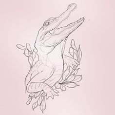 Managed to squeeze in a quick sketch before bed too ! Im truly terrible at working on just one design at a time . looking forward to working more on this later in the week . Tattoo Sketches, Drawing Sketches, Tattoo Drawings, Art Drawings, Animal Sketches, Animal Drawings, Krokodil Tattoo, Arte Naturalista, Alligator Tattoo