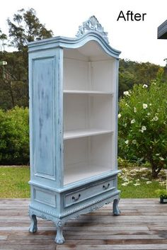 DIY Armoire pain project.  Paint Me White: French Armoire Makeover  Light blue and white.