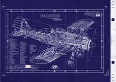 Vintage plane and tank blueprints | Gloster Gladiator | AviationShoppe.com