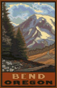 Vintage Bend Oregon travel poster Cross Stitch pattern PDF - Instant Download! by PenumbraCharts on Etsy