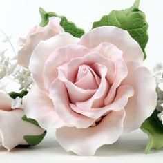 Pink Gumpaste Rose Sugarflower sprays with green leaves perfect as cake toppers for cake decorating fondant cakes and wedding cakes.  Handmade wholesale cake decoration.  Trio Garden Rose Toppers - Pink