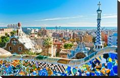 Stretched Canvas Print: Gaudi's Park Guell Barcelona : 15x22in