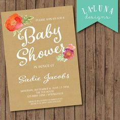 Baby Shower Invitation, Rustic Baby Shower Invitation, Kraft Paper Invitation, Floral Baby Shower, DIY Printable