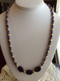 Purple and Gold Necklace on Etsy, $35.00