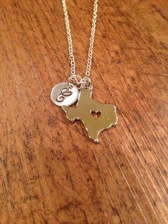Texas initial necklace  silver Texas charm state by kimsjewelry, $17.00