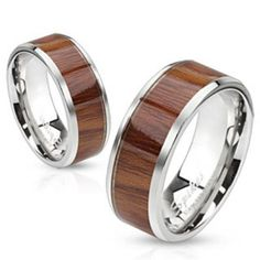 Wood Pattern Inlay Center Stainless Steel Band Ring - Wood Rings - Ideas of Wood Rings - 0 The post Wood Pattern Inlay Center Stainless Steel Band Ring appeared first on Awesome Jewelry. Stainless Steel Jewelry, 316l Stainless Steel, Mens Band Rings, Rings For Men, Titanium Jewelry, Wood Rings, Wedding Ring Bands, Fashion Rings, Men Accessories